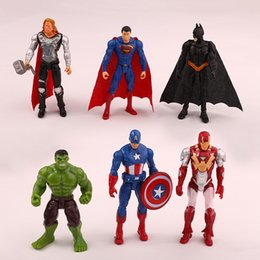 Wholesale Thor Iron Man Hulk - 6pcs of one set Superheroes The Avengers Spider Man Iron Man Hulk Thor Captain America Joint Moveable PVC Figure Model Toys Free Shipping