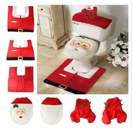 Wholesale Cheap Xmas Trees - Wholesale-Happy Santa Toilet Seat Cover Rug Bathroom Set Decor Christmas Decoration for home new year 2016 cheap Xmas product ornaments