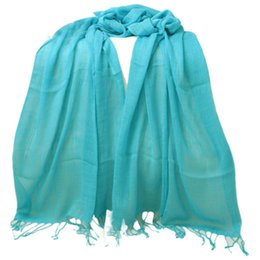 Wholesale Crinkled Scarfs - Wholesale- New Design Women's Tassel Pure Long Crinkle Soft Scarf Girl's Voile Stole Shawl Wrap free shipping!