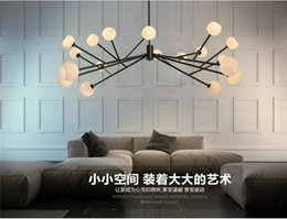 Wholesale North Europe Lighting - new design North Europe LED creative modo DNA pendant light 16 18 Globes glass lampshade chandelier LED lighting fixture