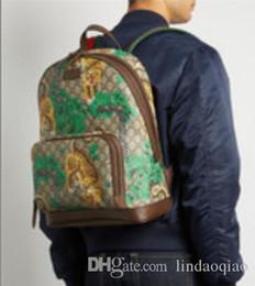 Wholesale Interiors Designs - 2018 new design Backpack Bengal backpacks Genuine Leather cavas Bengal print Backpacks Tigher print Backpack Men Womens Backpacks men bag