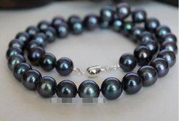 "Wholesale Black Culture Tahitian Pearl - 9-10mm Black Tahitian Cultured Pearl Necklace 18"""