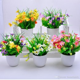 Wholesale New Flower Pots - New Style Artificial Flower And Gardening Flower Pots One Set Small Mini Colorful Plastic Nursery Flower Planter Pots Gardening Tool