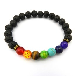 Wholesale Rhinestones 8mm - 8mm Muti-color Beads Natural Bracelets Lava 7 Chakra Healing Balance Bracelet for Men Rhinestone Reiki Prayer Stones