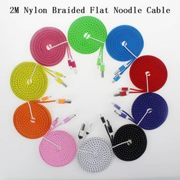 Wholesale Type Purple Color - 2M 6Ft Type-C Type C Micro USB Charger Cable Nylon Braided Woven Flat Noodle Data Sync Cables Charging Wires Cords Leads