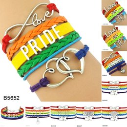 Wholesale Pride Charms - Custom-Infinity Love Pride LGBT Double Heart Charm Multilayer Wrap Bracelets For Women Men LGBT Queers Rainbow Leather Jewelry