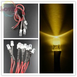 Wholesale Car Led Diode - Wholesale- 50pcs High Quality 5MM 12V Pre-Wired Resistor Round Top Warm White LED 12V DC 20cm DIY For Car Lamp Emitting Diode Wholesale