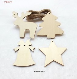 Wholesale Tags Strings - Wholesale-(4 Styles, 60pcs lot) Unfinished Natural Wooden Assort Christmas Ornaments Deer Star Tree Bell Tags Strings Hanging 70mm-ZH17