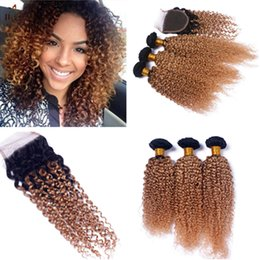 Wholesale Strawberry Blonde Hair Color Extensions - Honey Blonde Brazilian Curly Virgin Hair Extensions With Closure Strawberry Blonde #27 Curly Lace Closure 4x4 Closure With 3 Bundles