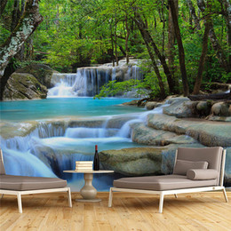 Wholesale House Productions - 3D large fresco living room TV background wall video wall wallpaper Chinese landscape waterfall welcome welcoming water production