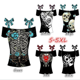 Wholesale Bateau Neck Top - 2017 Women's Fashion Sleeveless Summer Tops Off The Shoulder Boat Neckline Bandages Skull Printing Cotton T-shirt S-5XL