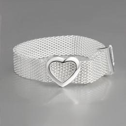 Wholesale Sterling Silver Bangles Valentine - Wholesale- Hot Fashion Jewelry 925 Sterling Silver Wide Heart Bracelets & Bangles Women Girl Wedding Party Creative Valentine Birthday Gift