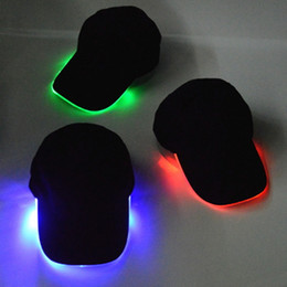 Wholesale Wholesale Lighted Baseball Caps - LED Light Hat Glow Hat Black Cotton for Adult Baseball Caps Luminous Adjustment Size Xmas Party Peaked Casquette Batteries Men Women