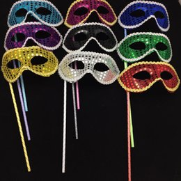 Wholesale Dance Mask Princess - Handmade Party Masks On Stick Wedding Venetian Half Face Flower Mask Halloween Mask Princess Dance Party Masquerade Masks