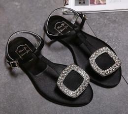 Wholesale Diamond Heels Bow - Women Sandals 2017 Summer Fashion Shoes Girl's Bow Diamond Women Sandals Flat Black Sandals Woman Shoes Larger Size 33-42