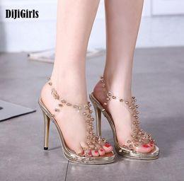 Wholesale Transparent Rivet High Heels - 2017 Summer Women's Sandals transparent crystal jelly rivets spikes high heel sandals Sexy 13cm High Heels Ladies pumps shoes