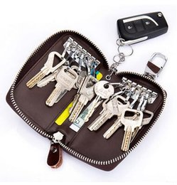 Wholesale Car Key Card Case - Genuine Leather Car Key Wallets Men Key Holder Housekeeper Keys Organizer Women Keychain Covers Zipper Key Case Bag Pouch Purse