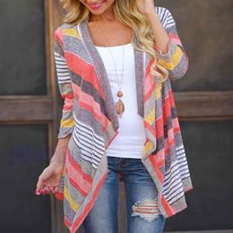 Wholesale Batwing Sleeve Knit - Wholesale-New Women Tops Fashion Long Cardigan Female Stylish Collarless Long Sleeve Cardigan Tribal Print Asymmetrical Cardigan