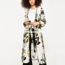 Wholesale Japanese Floral Shirts - Fashion Floral printed kimono blouses shirt women split kimono japanese long cardigan Summer bohemian beach belt sashes casual blouses 2017