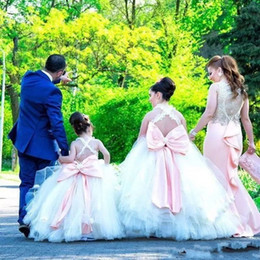 Wholesale Layered Tulle Kids - Ball Gown Flower Girls Dresses For Weddings Cross Back Lace Handmade Flowers Girls Pageant Dress Back Big Bow Layered Kids Communion Dress