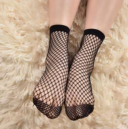 Wholesale Fishnet Ankle Socks - New Fashion stockings Mesh Sexy Women Casual Ruffle Mesh Short Stockings Black Girls One Size Women Tights Slim Fishnet Stockings Free Shi