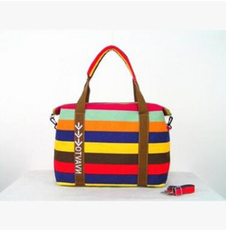 Wholesale Large Cross Body Hobo Bags - Women Canvas Shoulder Bag Lady Rainbow Stripe Oxford Handbag High-capacity Totes Picnic Duffel Bags Shoulder Hobos Cross Body Bags