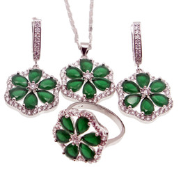 Wholesale Handmade Rings 925 - 925 Sterling Silver Handmade Jewelry Sets Beautiful Flower Natural Green Emerald Necklace Earrings Ring Size 8 Best Quality Free Shipping
