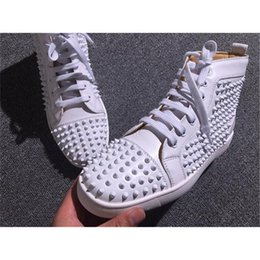 Wholesale Mens Studded Shoes - 2017 Cheap Shoes Red Bottoms sneakers mens grey matter leather with Spike Studded high top sneakers,designer causal flat sports shoes 39-46