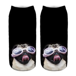 Wholesale Cool 3d Socks - Wholesale- 1 Pair 3D Cool goggles Dog Printing Socks Cotton Polyester Casual Sock Unisex Low Ankle Sock 19cm*8cm Best Family Gift