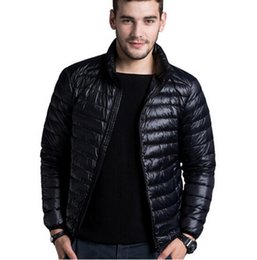 Wholesale Thin Breathable Coat - Men's casual warm Jackets solid thin breathable Winter Jacket Mens outwear Coat Lightweight parka Plus size XXXL hombre jaqueta