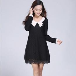 Wholesale Peter Pan Dress Plus Size - New 2017 Spring Autumn Winter Dress Women Korean Style Fashion Long Sleeve Peter Pan Collar with Lining Plus Size Lace Dress