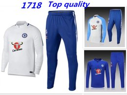 Wholesale Sport Chelsea - High Quality Chelsea Athletes Football Jogging Football Jackets Pants Sports Training 17 18 Suit Men Adult Soccer Soccer
