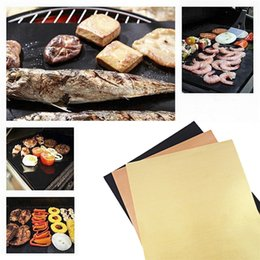 Wholesale Teflon Mat - Teflon Non-stick Reusable BBQ Grill Mats Sheet Baking Mat for Barbecue Grill Sheet Cooking Outdoor BBQ Accessories 40*33CM Wholesale 0702072