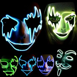 Wholesale Make Led Costumes - Wholesale-LED Glow Hand Made Cosplay Horror Ghost Party Costume Face V Vendetta Scary Masque Masquerade Mascara Anonymous Party Mask