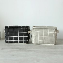 Wholesale Storage Cases For Clothes - Fashion Geometric Style Linen Bag Storage Basket Holder Jewelry Stationery Office Organizer Case For Cosmetics Reticule Hot Sell 8 7sy J R