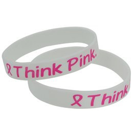 Wholesale Silicone Breast Cancer Bracelets Wholesale - 100pcs lot Think Pink Awareness of Breast Cancer Pink Ribbon Bracelet Wristband
