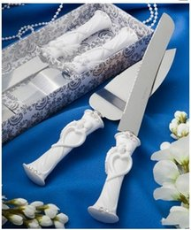 Wholesale Groom Bride For Cake - Bride Groom Heart Love Crystal Stainless Steel Cake Knife and Server Set For Wedding Party Anniversary