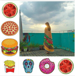 Wholesale Padded Picnic Blanket - Polyester Round Beach Towel blanket Emoji Skull Smiley Pineapple Donut Watermelon Round Wall Tapestry Blanket Pad Yoga Picnic Mat KKA2004