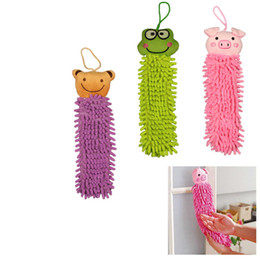 Wholesale Chenille Cloth - Cute Microfibre Chenille Cartoon Bathroom Kitchen Children Hand Drying Towel Animal Ultrafine Fiber Hand Cleaning Cloths