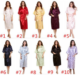 Wholesale Wholesale White Silk Shirt - 10 colors Long Women Solid Royan Silk Robe bridesmaid robes Aitificial Silk Robe Summer Women Sleepwear silk pajamas for women D829 15pcs