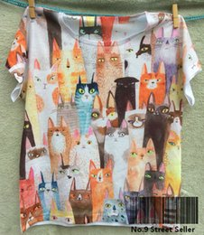 Wholesale Rock Roll Shirts - Track Ship + New Vintage Retro Rock&Roll Punk T-shirt Top Tee Watercolor Quiet Thin Cat Cats Staring You 0143
