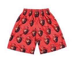 Wholesale Elastic Items - Wholesale- PLUS SIZE M~XXL 5 ITEMS,Thug Life 2pac Tupac Stars 3D Printed Mesh Breathable Shorts,Fish Net Short Hip Hop Beachwear