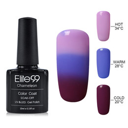 Wholesale Color Changing Nail Polish Temperature - Wholesale-Elite99 UV Thermo Varnishes Gel Polish Soak Off Mood Color Temperature Change LED UV Gel Nail Polish 10ML PC Gelpolish