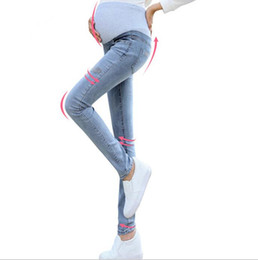 Wholesale Maternity Denim Jeans - Autumn Slim Stylish Maternity Jeans Pencil Soft Pants Feet New Embroidery Maternity Abdominal pants For pregnancy