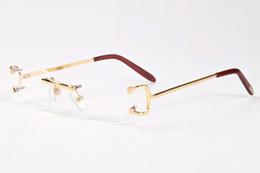 Wholesale Eyewear Legs - Gafas De Sol 2017 Men Buffalo Horn Glasses Women Frames Rimless Sunglasses Brands Designer Gold Metal Leg Eyewear Brown Clear Lens