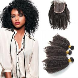 2019 вьетнамские волосы 4x4 кружева закрытие с пучками естественный цвет вьетнамский девственные волосы с афро кудрявый вьющиеся пучки человеческих волос G-легко дешево вьетнамские волосы
