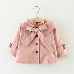 Wholesale Cute Kids Girls Year - Cute Girls Big Bow Knot Trench Coats 2017 Fall Kids Boutique Clothing 1-4 Year Little Girls Solid Color Windbreaker Outerwear