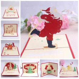 Wholesale Christmas Card 3d - Handmade Christmas Card 3D Pop Up Greeting Card Christmas Bell Party Invitations Paper Card Personalized Keepsakes Postcards OOA2804