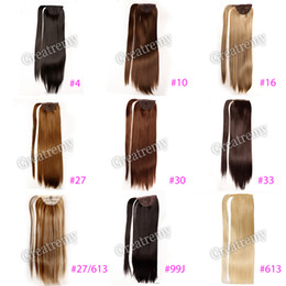 """Wholesale 22 Inch Ponytails - Greatremy 22"""" Long Straight Wrap Around Ponytail Extension Synthetic Hairpiecs for Girls 10 COLORS #10#16#27#27 613#30#33#4#6#613#99J"""