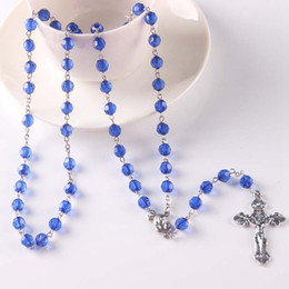 Wholesale Wholesale Crystal Bead Rosary - Imitation Crystal Rosary Bead Necklace Jewelry Silver Christian Jesus Cross Pendant Necklace For Catholic Christmas Gift 8 Colors